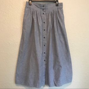 Vintage Button Down A Line Chambray Skirt Pockets